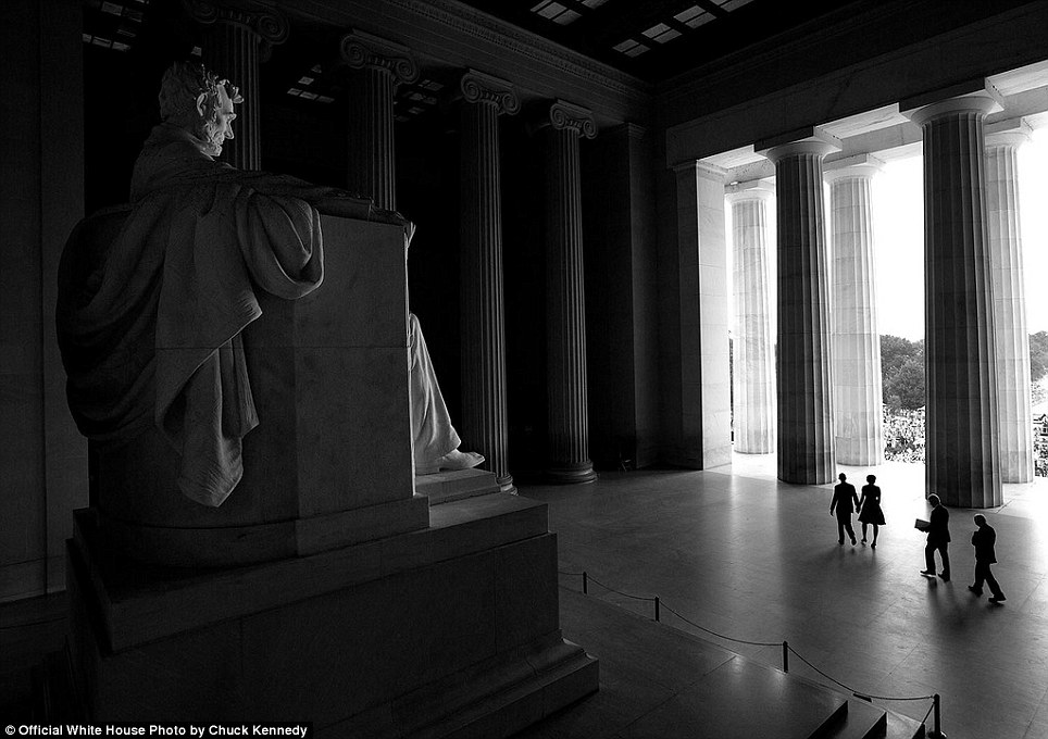 August 28, 2013. Chuck Kennedy worked with the National Park Service to be able to photograph from this angle at the Lincoln Memorial as the President, First Lady, and former Presidents Bill Clinton and Jimmy Carter walked to the stage during the ceremony for the 50th anniversary of the historic 1963 March on Washington for Jobs and Freedom