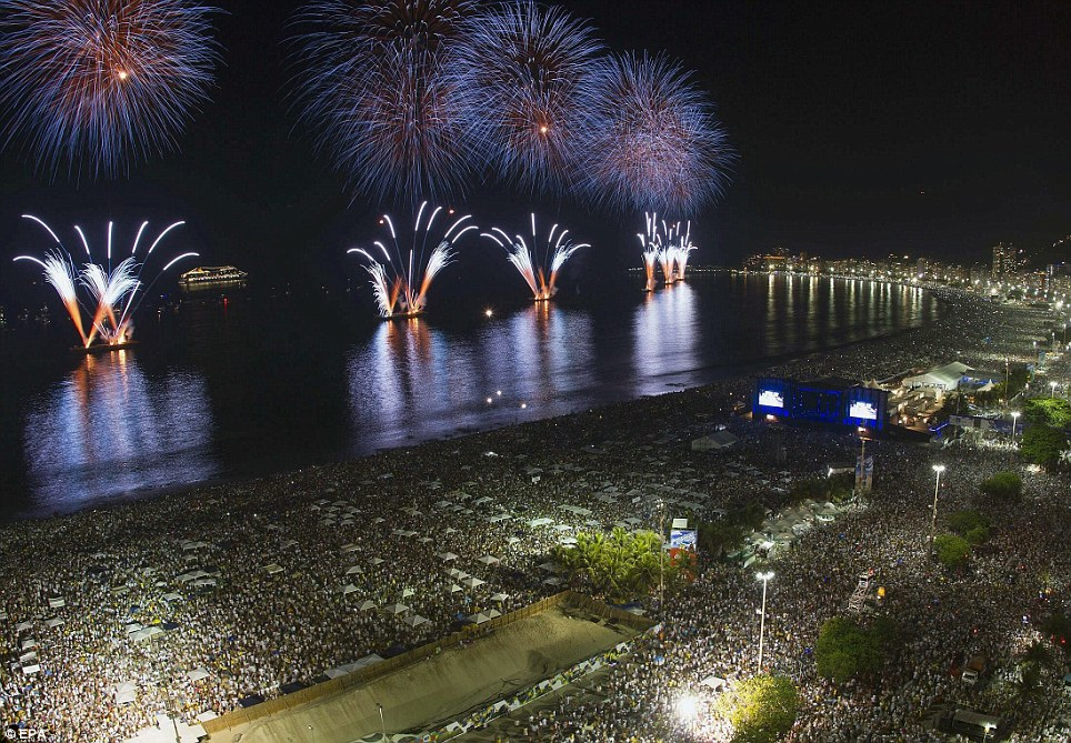 Kaleidoscope of colour: Fireworks illuminate Copacabana beach in Rio de Janeiro as Brazil sees in the New year