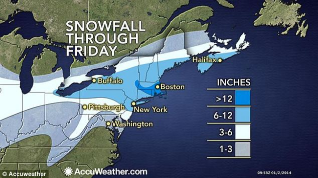On its way! This graphic shows expected snowfall on the East Coast throughout the day until tomorrow