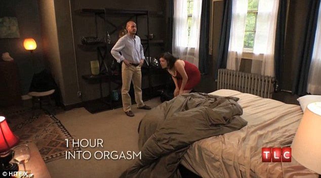 One hour in: Liz tried jumping up and down to shake the orgasm as Eric watched helplessly