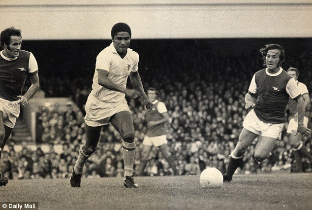 On the ball: Eusebio in action for Benfica against Arsenal in 1971