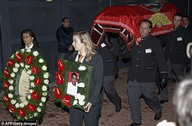 Display: Eusebio's coffin arrives at Benfica's Luz Stadium to be displayed in a chapel of rest on Sunday evening