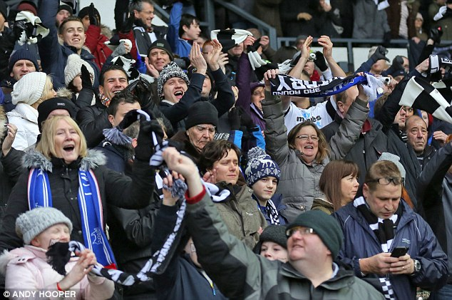 Feverish: Derby fans were in a bouyant mood as they welcomed Chelsea to the iPro Stadium