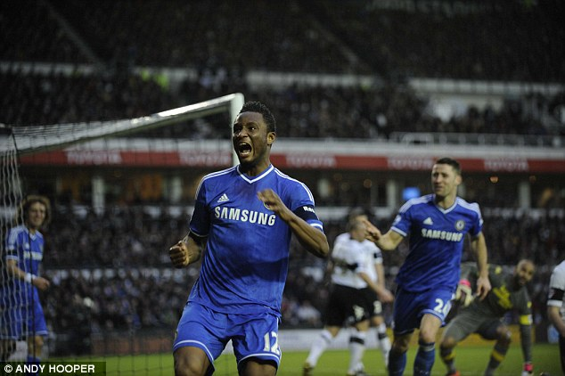 On the scoresheet: John Obi Mikel celebrates after putting Chelsea 1-0 up against Derby