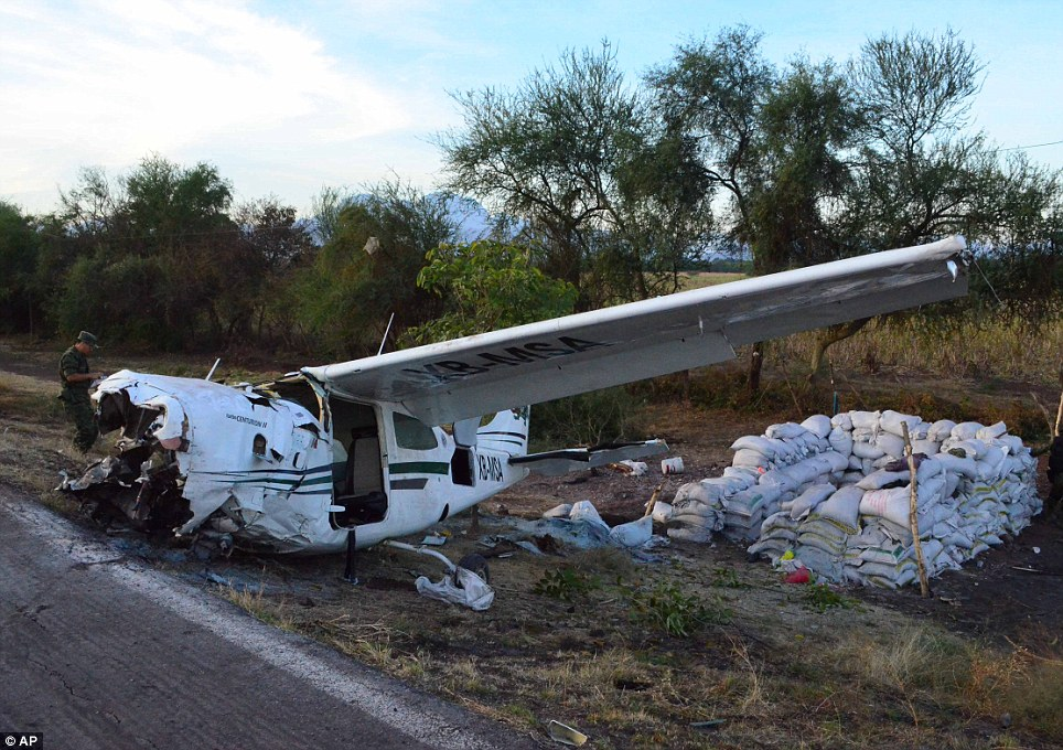 Smash: This plane crashed in western Mexico yesterday, killing one man and injuring four others including vigilante group leader, Dr Jose Manuel Mireles