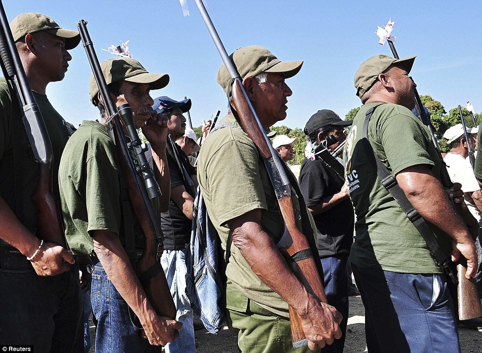 In neighbouring Guerrero state yesterday, members of the Public Safety System (a community police organisation) marched in honour of their first anniversary