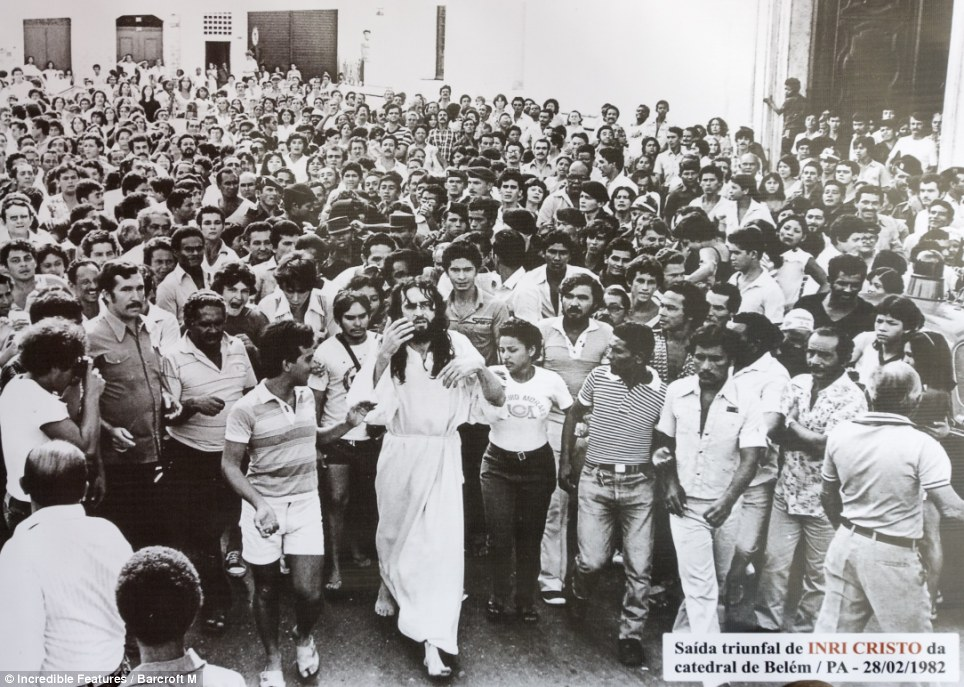 Long career: Inri Cristo, who has been preaching as 'Jesus' since 1979, surrounded by followers circa 1982 at Belem cathedral in Lisbon, Portugal