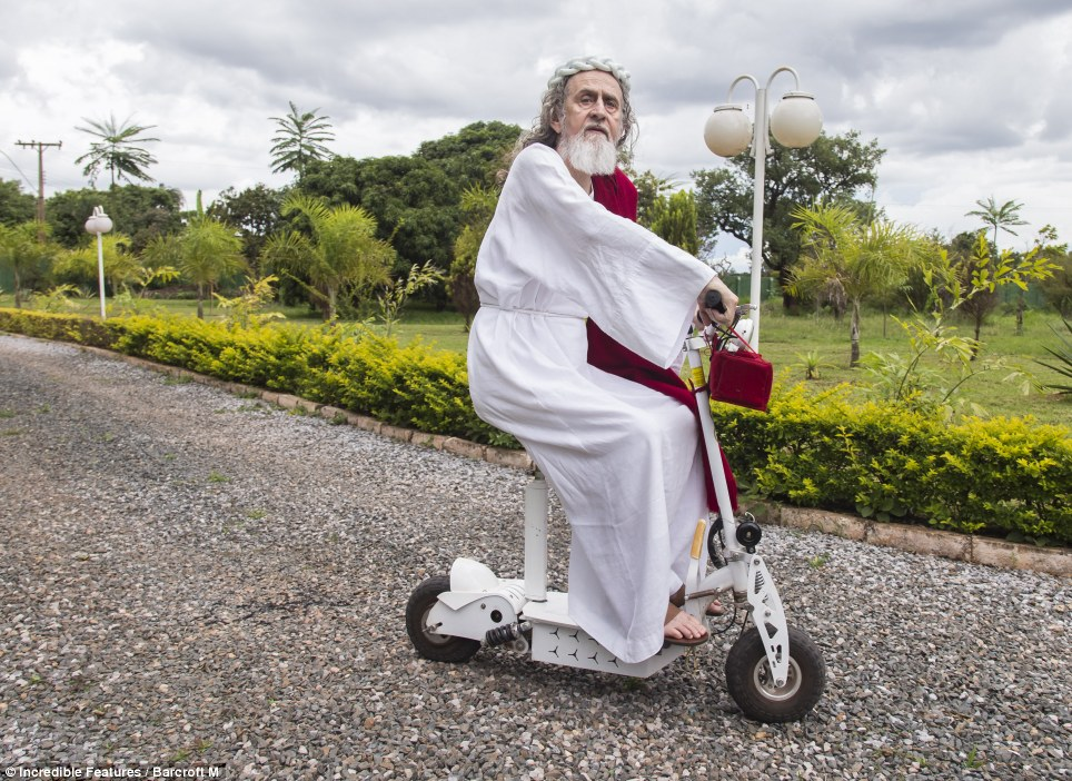 They see me rollin', they hatin': When not giving sermons and tending to his flock at his Soust church, Inri Cristo likes to get around the grounds of his compound aboard his motor scooter