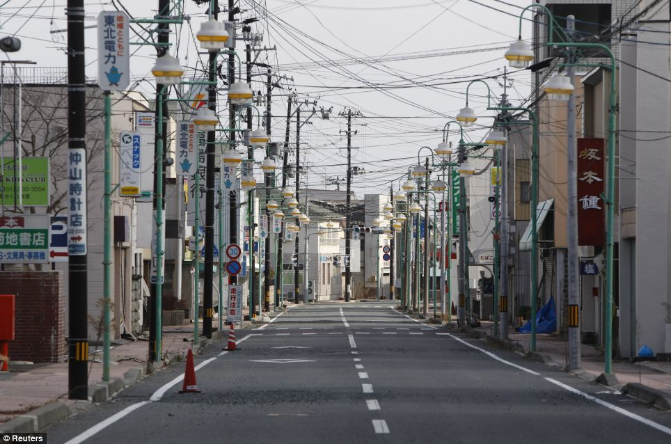 Abandoned: Tomioka town is another which falls inside the exclusion zone, put in place to try and contain the world's worst atomic crisis in 25 years