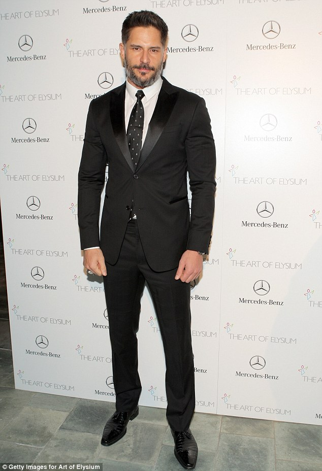 Man mountain: Muscly True Blood star Joe Manganiello was positively bulging out of his suit