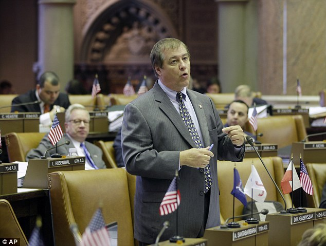 Assemblyman Dennis Gabryszak, D-Cheektowaga, speaks last year in the Assembly Chamber at the Capitol in Albany, N.Y. The embattled politician resigned Sunday amid several claims of sexual harassment