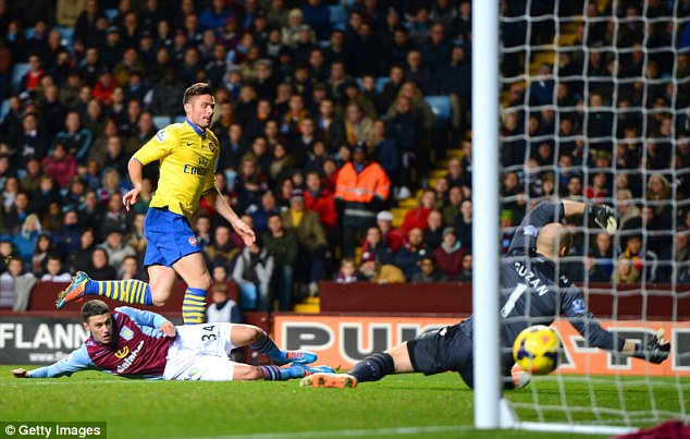 Quick-fire: The Frenchman powered his strike home less than 60 seconds after Wilshere's opener