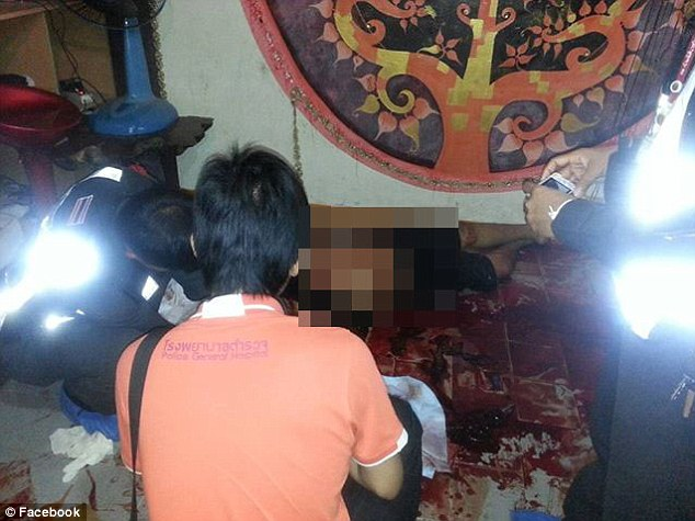 Horrific: Days after the killing, this picture purporting to show the murder scene was posted on Facebook by a user called Maleficent Meditation, who police believe to be Prakarn