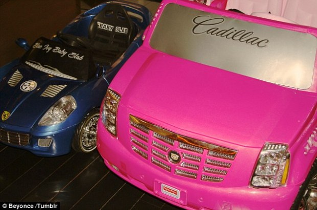 Now THAT'S a ride! Beyonce revealed daughter Blue Ivy's first cars - a Lamborghini and a pink Cadillac in a picture posted on her Tumblr