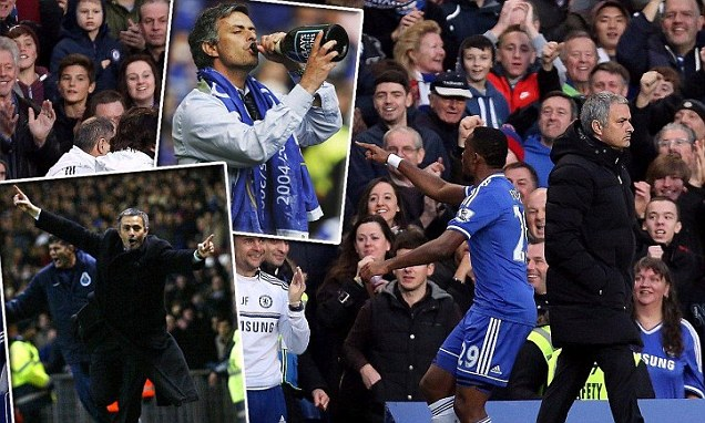 Routine: Jose Mourinho refused to react after the first of Samuel Eto'o's goals against Manchester United