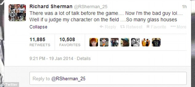 Sherman also attempted to defend himself on social media