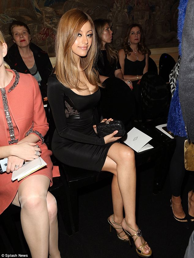 High fashion: Ms Daher attending a Versace fashion show yesterday. Trading on her notoriety as a sex symbol, Zahia Dehar reinvented herself as a lingerie designer, showing her first collection on the Paris catwalks in January last year