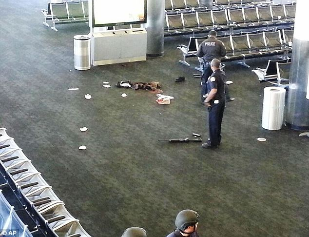 On the scene: Police were able to shoot, injure, and take hold of shooter Paul Ciana after he opened fire inside Terminal 3 of Los Angeles International Airport on November 1 (pictured)