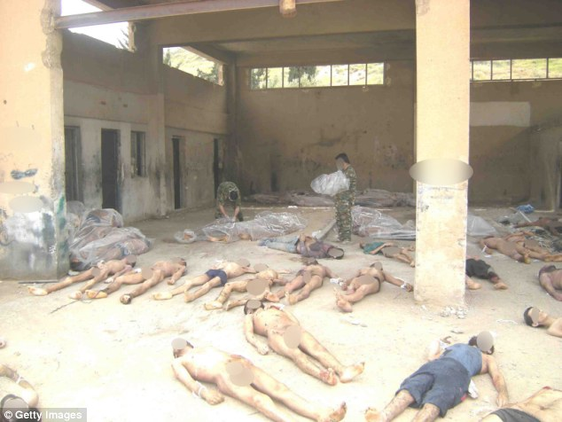 Murder: The corpses are said to all be members of rebel forces who have been kept in Syrian jail by al-Assad's military police