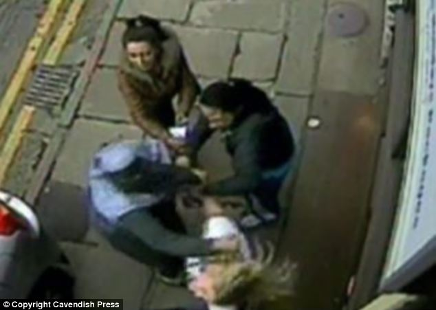 A sibling reaches for Miss Harrison's hair. One of the gang said 'you've mess with the wrong Muslims. We are going to kill you' during the terrifying attack