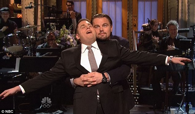 'Am I flying, Jack?' Jonah Hill and Leonardo DiCaprio re-enacted the infamous flying scene from Titanic on this week's episode of Saturday Night Live hosted by Jonah and crashed by Leo