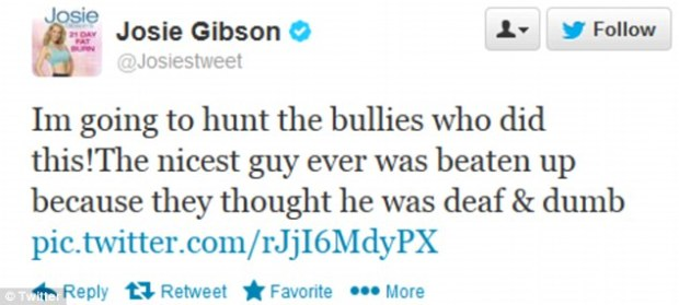 Miss Gibson tweeted her anger and disgust at the horrific incident