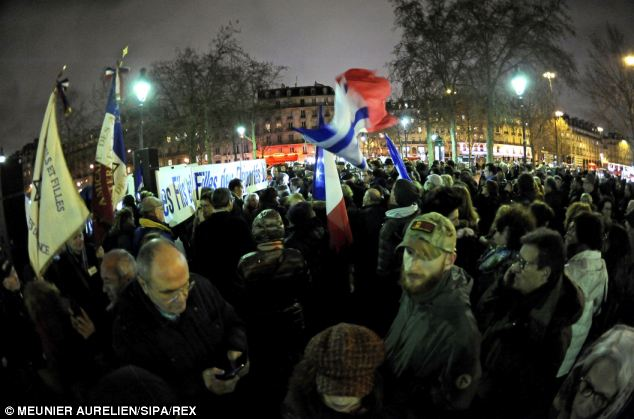 Controversial: Here anti-Dieudonne M'bala M'bala protesters are seen on the streets of Paris on January 16