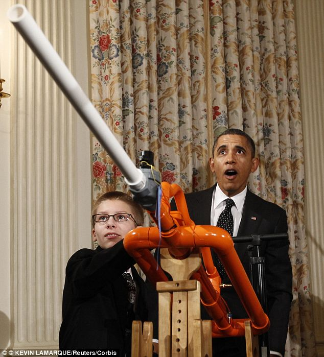 Young scientist: Joey Hudy met President Obama when he was 14 at a White House science fair in 2012 (pictured) and impressed him with his ¿extreme marshmallow cannon¿