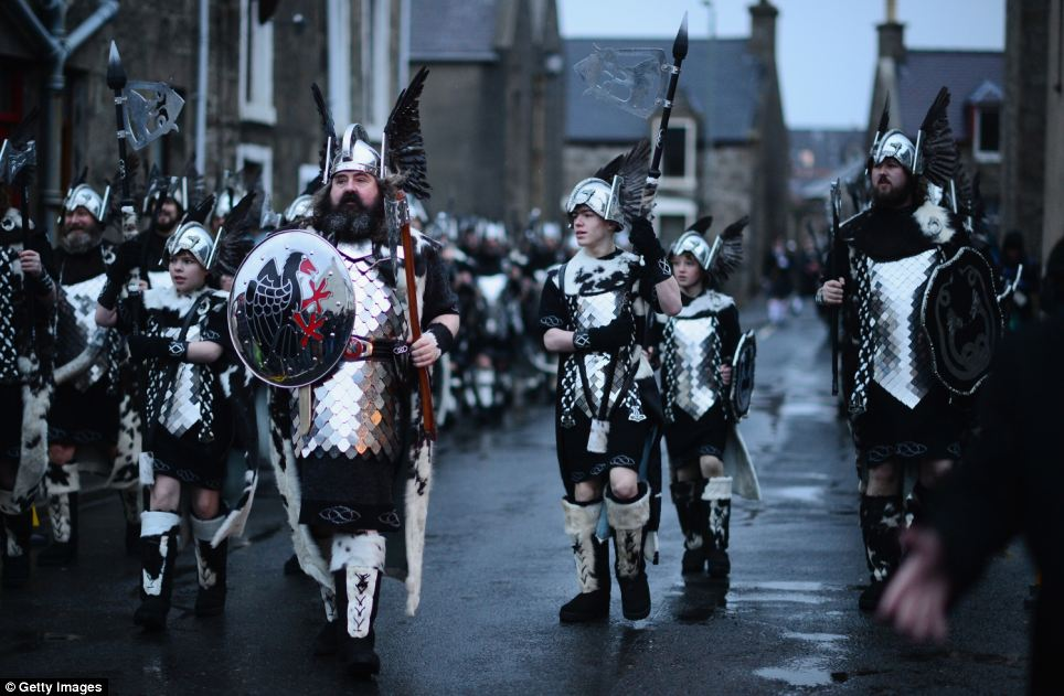 The Guizer Jarl is the leader of the Jarl Squad, who dress as the Vikings on the day. The first up Helly Aa leader was elected in 1882 and was given the title of Worthy Chief Guizer. His role was so significant that in 1906 it was decided that a special Viking coat of arms would be purchased and that the chief from then onwards would be known as the Guizer Jarl