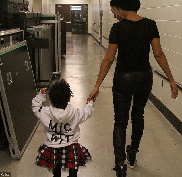 Life on the road: Beyonce, 32, shared this snap of her with two-year-old daughter Blue Ivy backstage at a music venue on Thursday