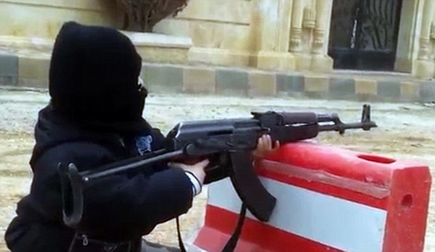 Assault rifle: Alarming footage appears to show a child, believed to be four years old, shooting an AK-47 as the reliance on children on the Syrian bloodbath continues. The footage was posted online by a jihadist group
