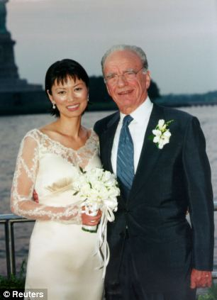 Wedding day: Mr Murdoch and Ms Deng married in 1999, when she was 30 and he was 68