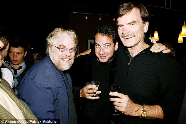 Friends: Philip Seymour Hoffman with David Bar Katz who has claimed he was involved in a gay relationship with the Oscar winner. The two are pictured here in 2008 at New York's Terminal 5 for a gala benefit for the musical, We Will Rock You with another friend (right) George Liberatto