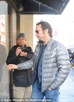 Allegations: This is David Bar Katz arriving at the home of Mimi O'Donnell on Tuesday in Manhattan after Philip Seymour Hoffman died on Sunday. An interview published today carries a direct quote from Katz in which he claims to have been the gay lover of the Oscar winning actor