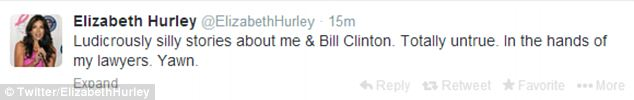 Setting the record straight: In the past, Hurley has said that she finds powerful men like Clinton 'sexy' but she says the latest claims about them having an affair are false