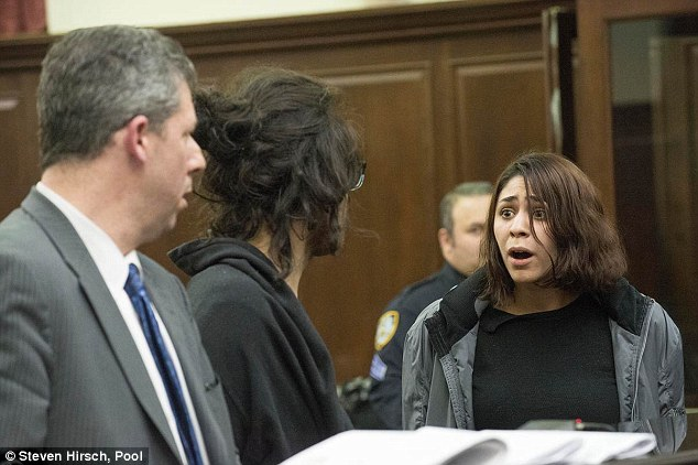 Jaw-dropping: The female suspect, Juliana Luchkiw, right, looked aghast during the court hearing