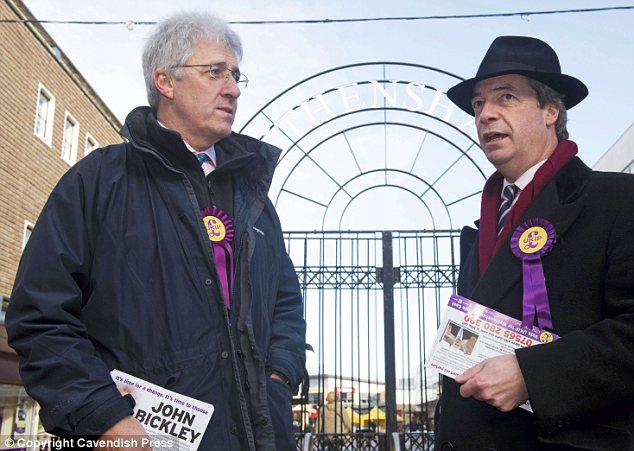 Strategy: Mr Bickley on the campaign trail in Wythenshawe, Manchester, with UKIP leader Nigel Farage, right