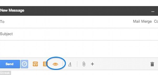Once installed, users can set Streak's Email Tracking function to be enabled by default. Users know the email is being tracked when the eye icon is orange, highlighted. The feature can also be disabled. However, at no point is the reader of the email informed that they have been tracked