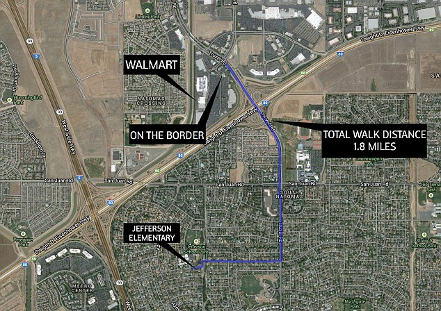 Journey: Samaya's parents say she walked off the Jefferson Elementary School Campus on  Pebblewood Dr, Sacramento before wandering down Truxel Road and over the Interstate 5 entrance and exit ramps to Walmart and an On The Border restaurant