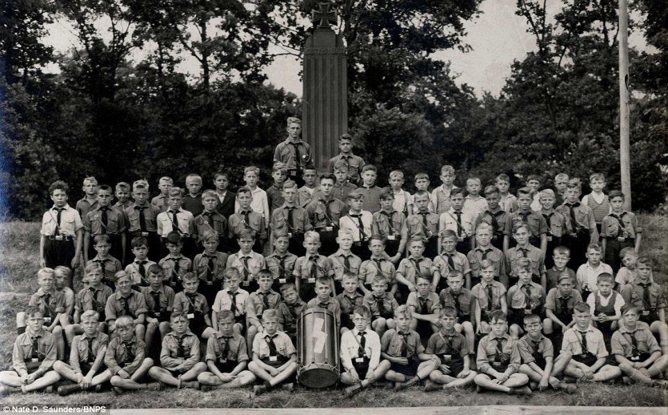 Gathering: A picture of a Hitler Youth 'Landjahr' training camp taken in 1938 by a 15-year-old boy who was taking part