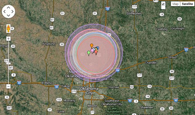 Quake cluster: A map created by earthquaketrack.com shows the massive cluster of 20-plus quakes that have shaken central Oklahoma in recent days