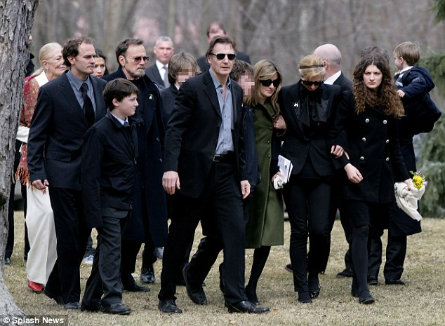 Funeral: Neeson with family and friends at the funeral of Natasha Richardson