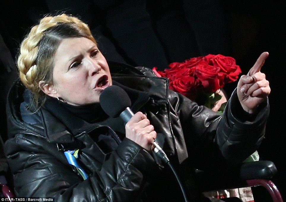 Illness: That night, Tymoshenko, who has been suffering severe back pain, appeared in a wheelchair as she addressed the 50,000-strong crowd in Independence Square