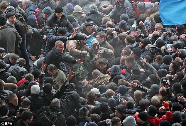 Clashes: Fist fights broke out today between pro- and anti-Russian protesters in the Crimean peninsula in Ukraine. In response Russia has reportedly ordered an immediate test of 150,000 troops