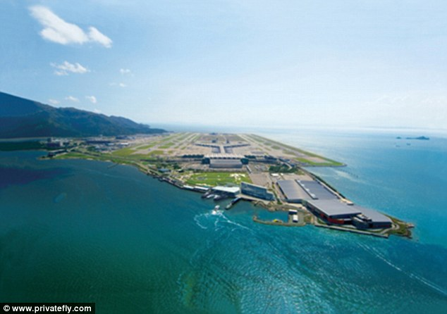 Hong Kong Airport, built on the island of Chek Lap Kok offers breathtaking cityscape views