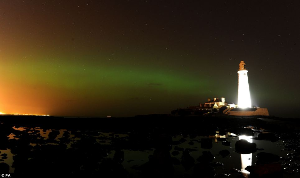 Visible: Such light displays in the sky often occur in the Arctic and Antarctic regions, but they were visible in North Tyneside