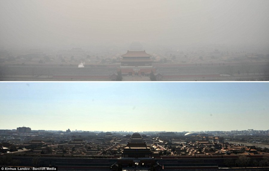 They can see clearly now  Smog which has blanketed Beijing final     Remarkable  The above photograph was taken near the Forbidden City in  Beijing on Wednesday and