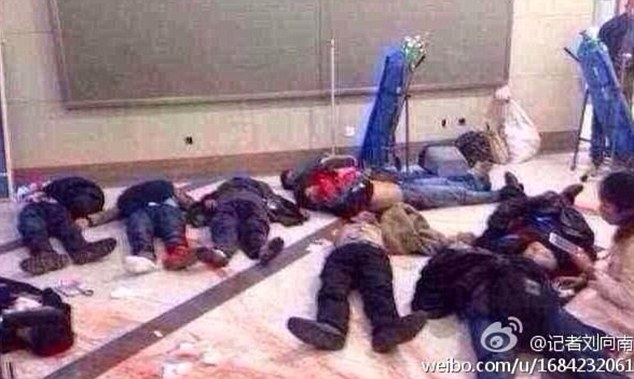 Horror: Photos shared on the Chinese micro-blogging site Weibo showed bodies strewn across the floor covered in blood. Initial reports suggest 28 people have been killed and another 113 were injured