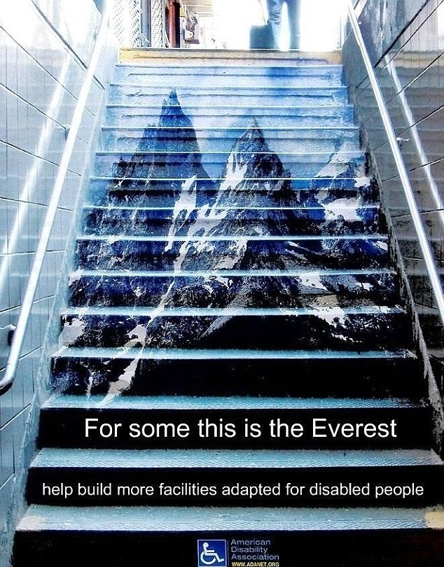 Disability campaign: The advert aimed to raise awareness of places that are not wheelchair accessible
