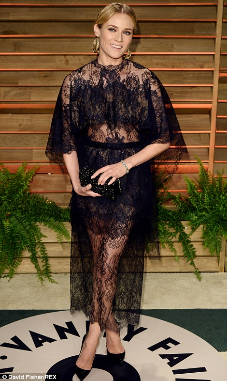 Lace overload: Fashion darlings Karolina Kurkova (left, in Elie Saab at Elton John's viewing party) and Diane Kruger (right, in Valentino at the Vanity Fair after party) both opted for over-the-top lace looks